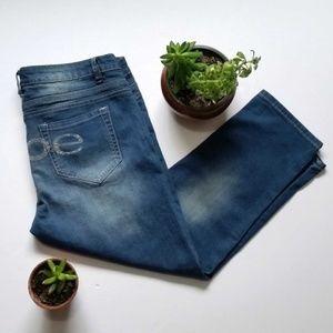 Bebe Bling Embellished Distressed Cropped Jeans